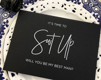 f6f27c24 Black and White Best Man Card, BestMan Card, Groomsman Card, Best Man  Invitation, Proposal, Asking Best Man, Keepsake Card, Suit Up Card, CS
