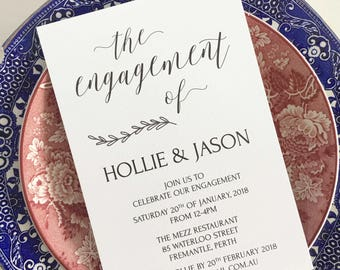 Invite Template, Invitation Engagement Party Invitation Printable Engagement Invitations, Laurel Invitation Rustic Engagement Invites Simple