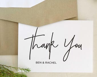 wedding thank you card template wedding thank you cards personalised thank you cards personalized stationery sets calligraphy note cards - Personalized Thank You Cards