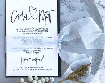 Printable Wedding Invitation, Template Downloadable Wedding Invitation, Modern Wedding, Digital Invitation, Black and White, Rsvp Card
