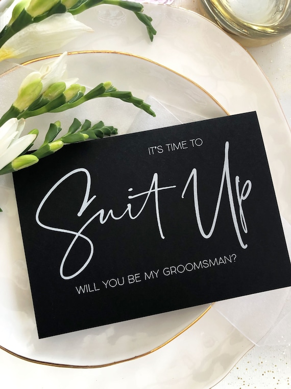 with Black Envelope Best Man Gift Time to Suit up Groomsmen Card Will you be my groomsman Invitation
