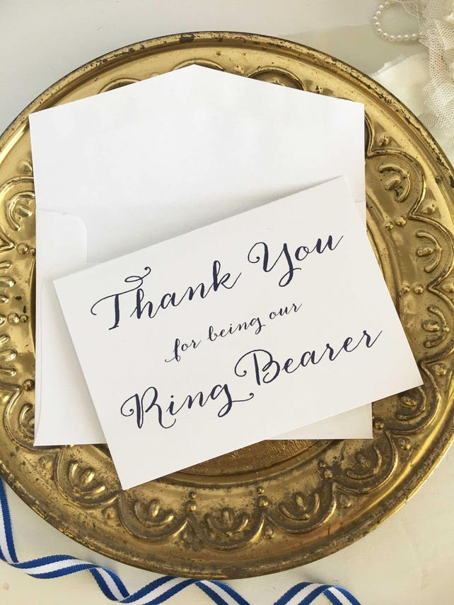 Thank You For Being Our Ring Bearer Card Ringbearer Gift Ring