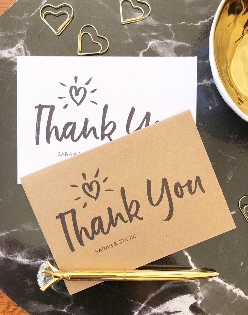 Personalised wedding thank you cards WHITE GOLD GLOSS PHOTO FREE ENVELOPES /& DRA