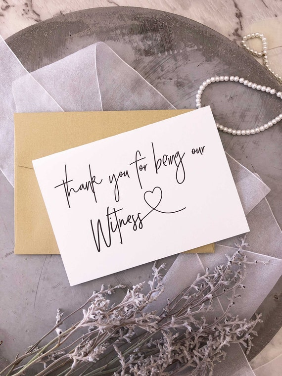 from Bride and Groom Modern Wedding Thank You For Being Our Witness Wedding Day Card Bridal Party Wedding Thank You Gift
