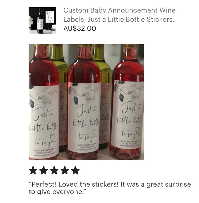 Eucalyptus Wine Labels Personalised Im Pregnant Reveal Family Friends Custom Baby Announcement Wine Labels Just a Little Bottle Stickers
