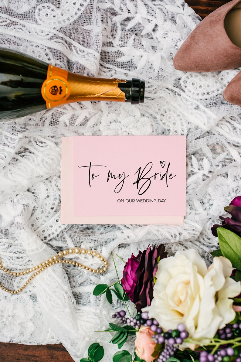 Bride to Be Fianc\u00e9 Marry You Card Gift For Bride From Groom Future Wife Wedding Morning BT Pink To My Bride on Our Wedding Day Card