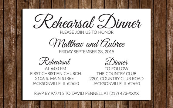 graphic about Printable Rehearsal Dinner Invitations named Printable Rehearsal Meal Invites / Straightforward Invitations/ 5\