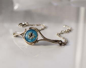 Dainty Keepsake Resin Bracelet In Sterling Silver • Custom Memorial Gift • Pet Keepsake Jewelry • Sterling Silver Bracelet • Gift For Her