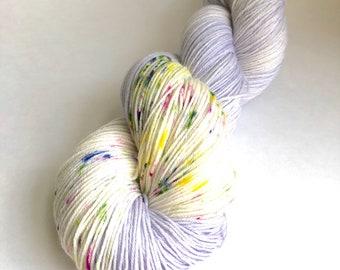 Lavender Sorbet with Sprinkles hand dyed sock yarn