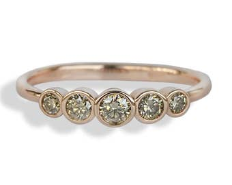 18K Rose gold ring with 5 BROWN DIAMONDS, Five Brown Diamonds ENGAGEMENT Ring, Promise ring for her, Gift for Anniversary, Gift for her