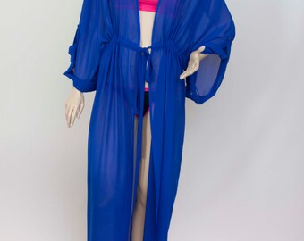 7e812d397316b Chiffon kimono Kaftan dressin royal blue, light weight elegant beach cover  up,women's beach kaftan dress