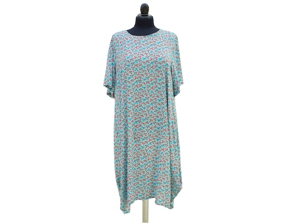 CLEARANCE SALE -Loose summer tunic dress Lagenlook plus size top oversized  loose tunic dress in blue flowered print