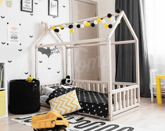 EXPRESS SHIPPING 140X70 Cm House Bed Children Bed Toddler Bed Kids Teepee  Wood House Baby Bed Montessori Toys Bed House Tent SLATS