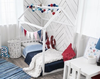 Children Furniture House Bed Frame In Full Size Or Queen With Etsy