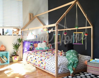 Toddler Bed House Children Wooden Tent Wood Nursery Kids Teepee Frame Gift