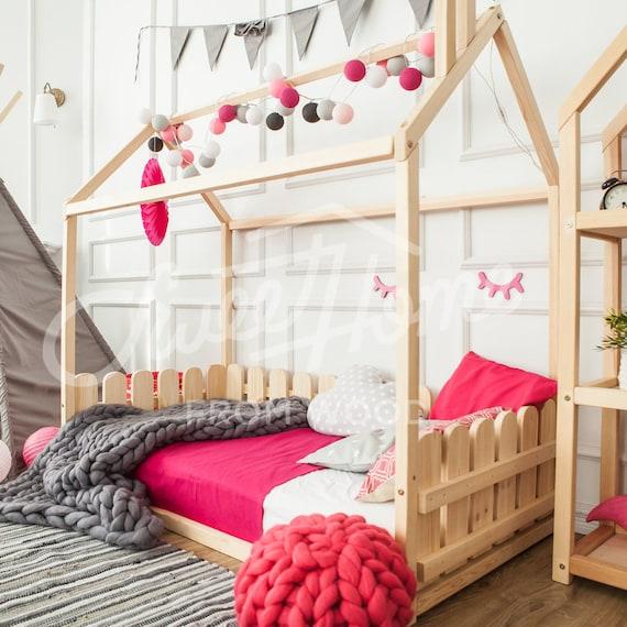 Cama doble tamaño cama Montessori piso cama cuna niños marco | Etsy