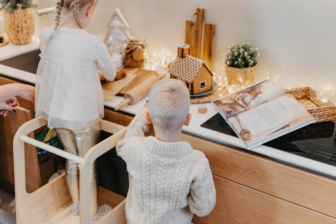 Kitchen tower, Kitchen Helper tower Activity tower, Toddler stool, Kid step stool, Montessori Kitchen Tower, Kitchen Stool Christmas gift