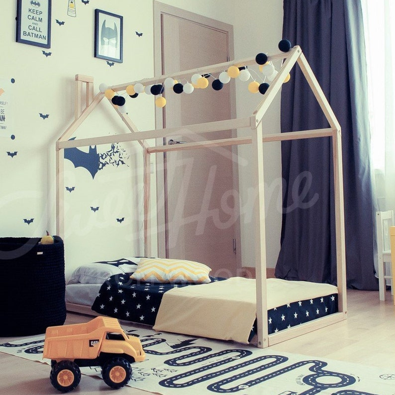 Toddler bed House shaped bed loft bed Nursery wood house bed image 0