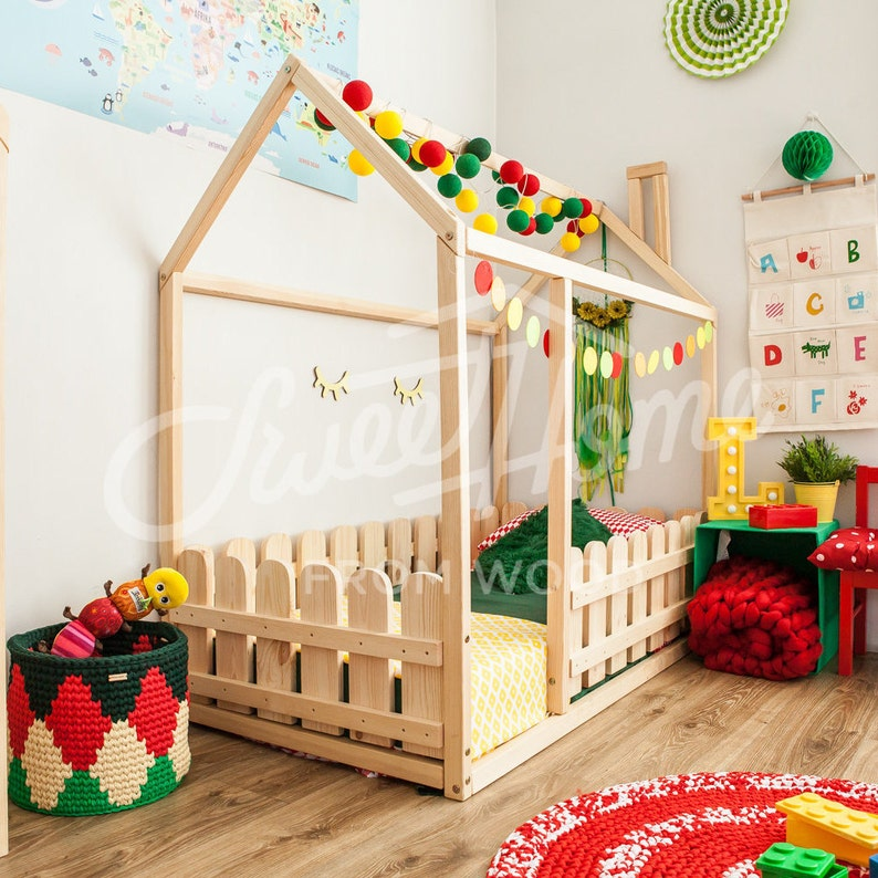 House Bed, Toddler Bed, Play House, Tent Bed Bunk Bed Wooden Playhouse  Montessori Bed Toddler Floor Bed Wood Nursery Teepee Bed Kids Bedroom