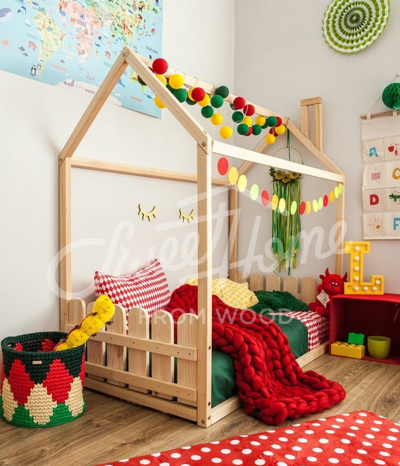 buy popular daba9 87113 Montessori bed, wooden house bed frame or baby bed with SLATS