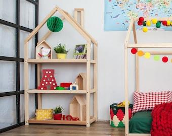 Kids bedroom house shaped shelf or wooden house shelf, nursery shelf book storage montessori shelf kids shelf book rack toy storage