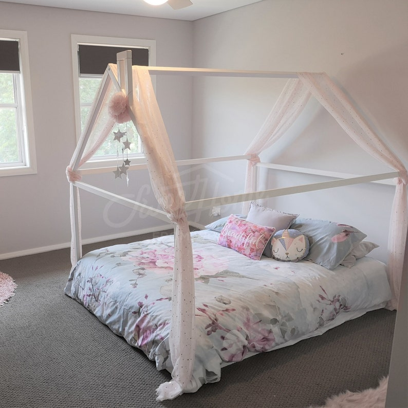 Wood bed FULL/DOUBLE toddler bed frame tent bed wooden Painted WHITE