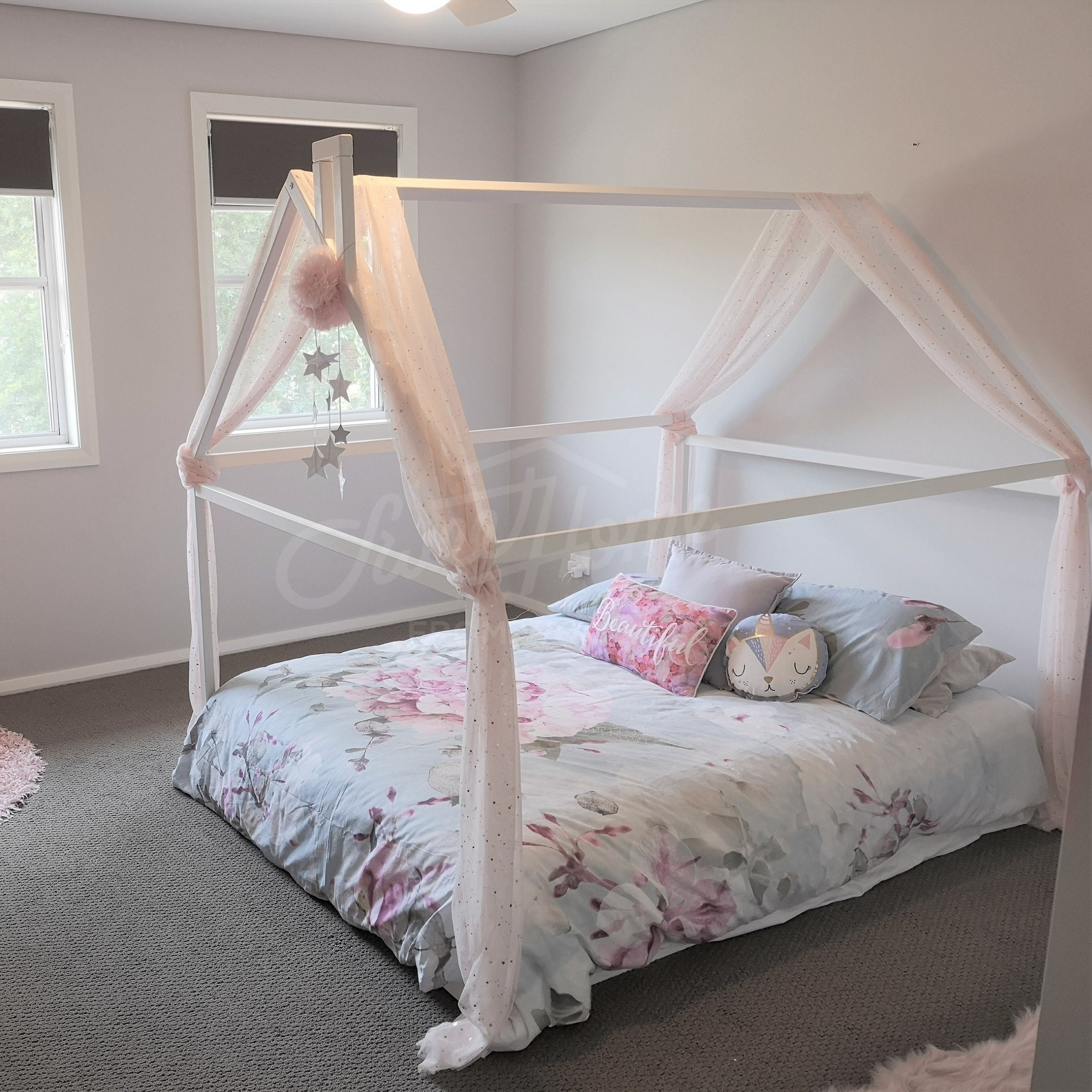 wood bed full double toddler bed frame tent bed wooden etsy 11925 | il fullxfull 1757542388 p7js