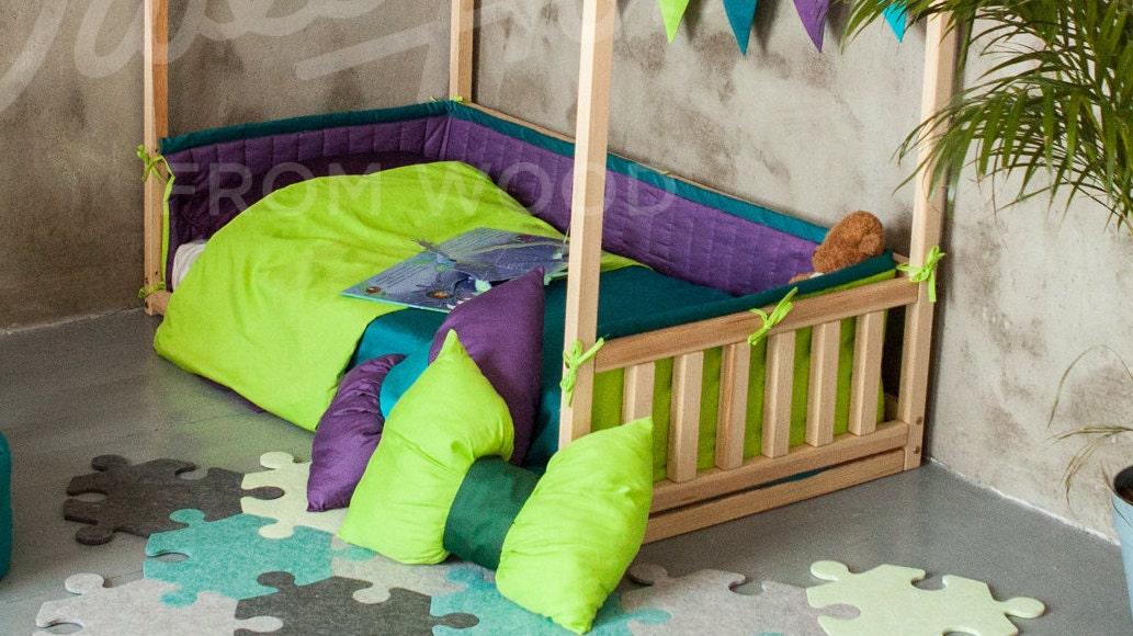 stoff sto stange um haus bett mit zaun f r montessori bett etsy. Black Bedroom Furniture Sets. Home Design Ideas