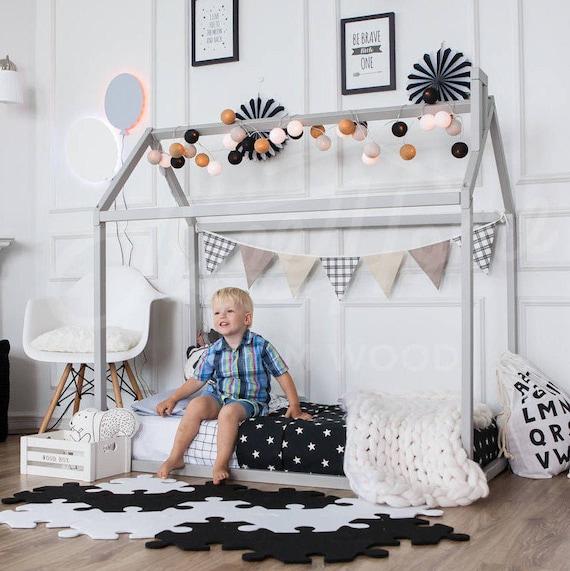 Cama del niño jugar casa marco niños cama cucheta cama casa | Etsy