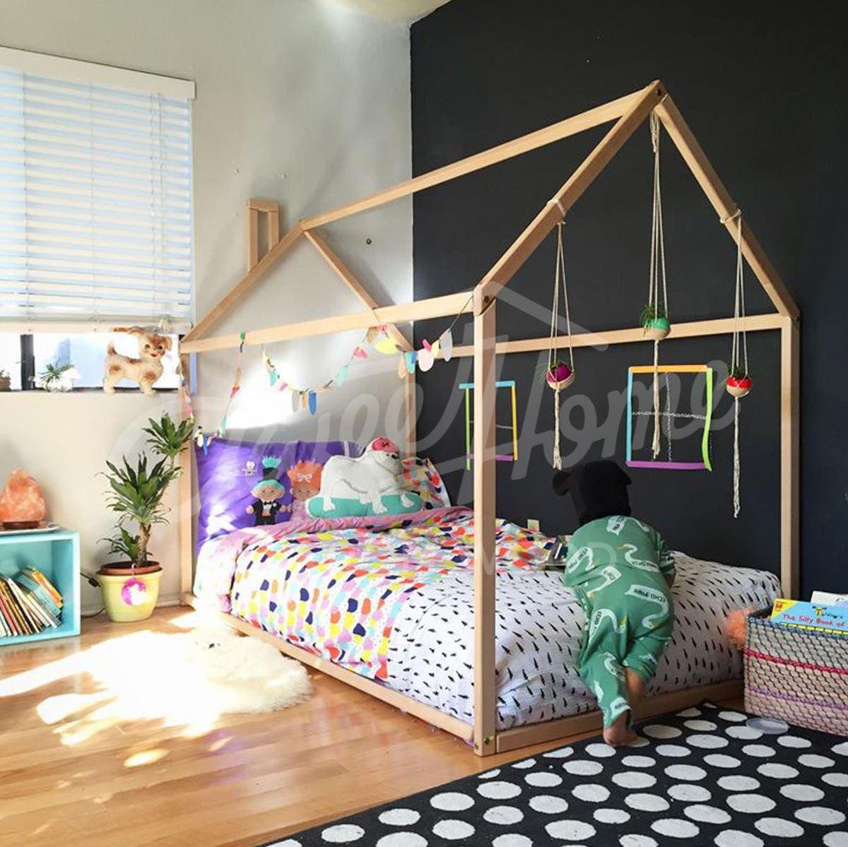 Kleinkind-Bett Haus Bett Kinderbett Holzhaus Zelt Bett | Etsy