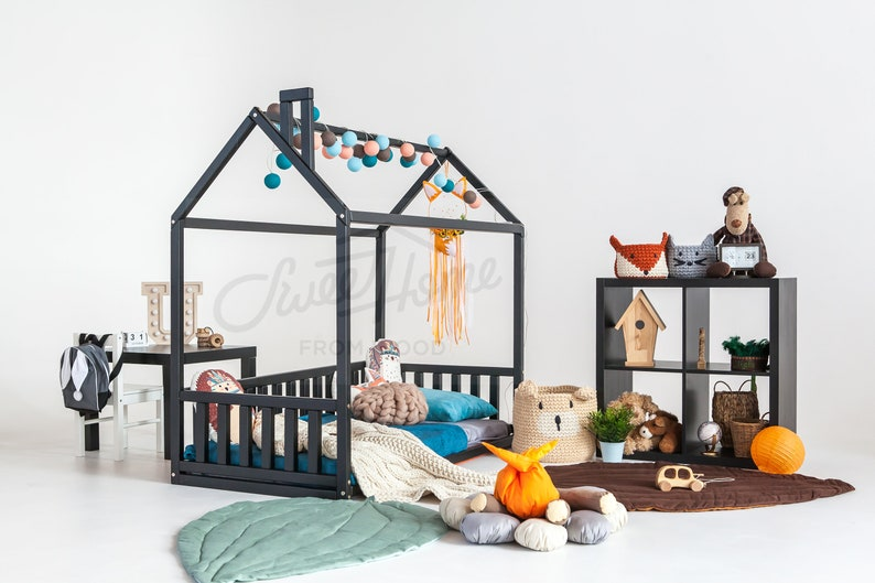 wooden bed or Montessori bed FULLDOUBLE Kids teepee house bed baby bed