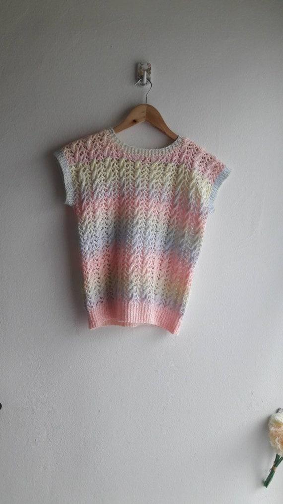 S/M Unicorn inspired pastel rainbow vintage croche
