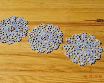5 inches (13 cm)/Small crochet doily / round / coasters / blue-gray