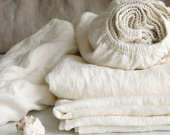 Linen FITTED SHEETS in off-white - deep pocket sheets from softened heavier linen - Twin Full Queen King Cal King linen bedding