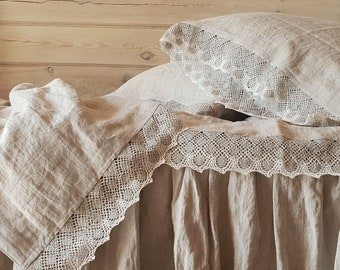 Lace linen SHEET SET from washed natural flax grey linen - linen flat sheet, fitted sheet, 2 pillowcases - lace trimmed linen bedding