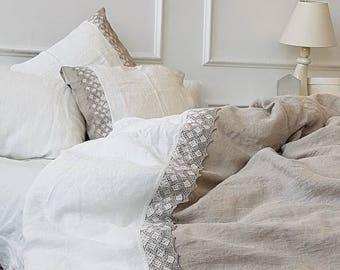 Linen bedding set with linen lace, stonewashed natural linen duvet cover and pillowcases, lace trimed Twin, Queen, King linen beddingset