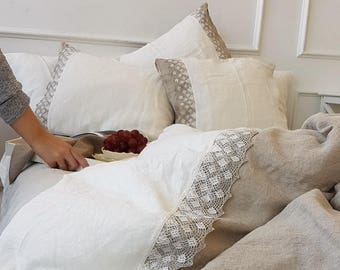 Linen duvet cover with lace - heavier natural flax grey and white linen, stonewashed linen doona cover - Twin Queen King lace linen bedding