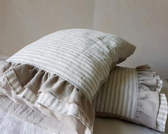 Ruffled linen PILLOWCASE - ruffle linen pillow sham - softened linen pillow cover - striped pillow slip - Standard Queen King linen shams
