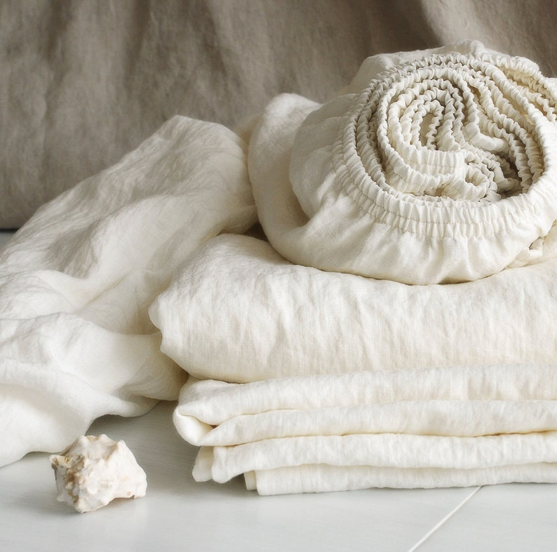 Linen Fitted Sheets In Off White Deep Pocket Sheets From Etsy