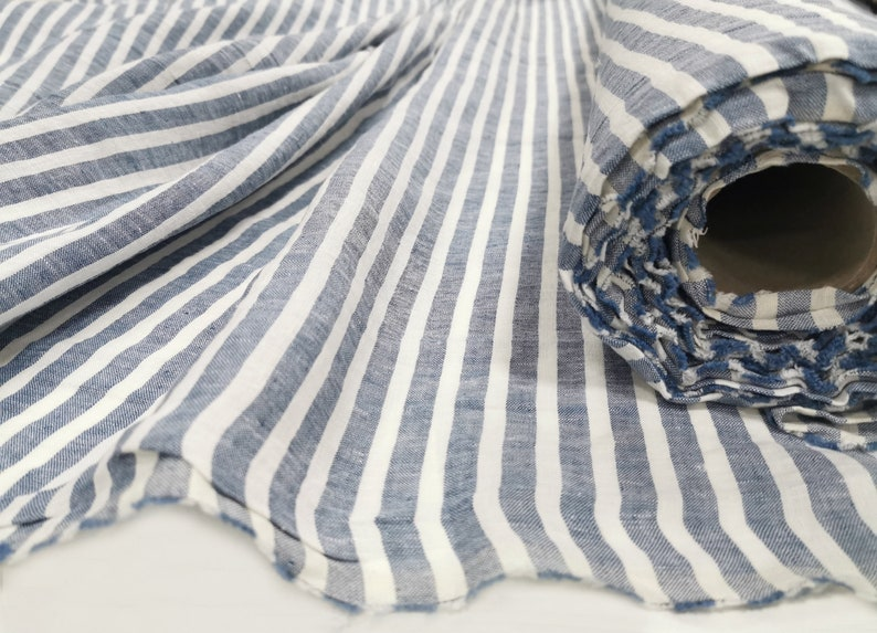 Wide striped linen fabric blue and white stripes stonewashed image 0