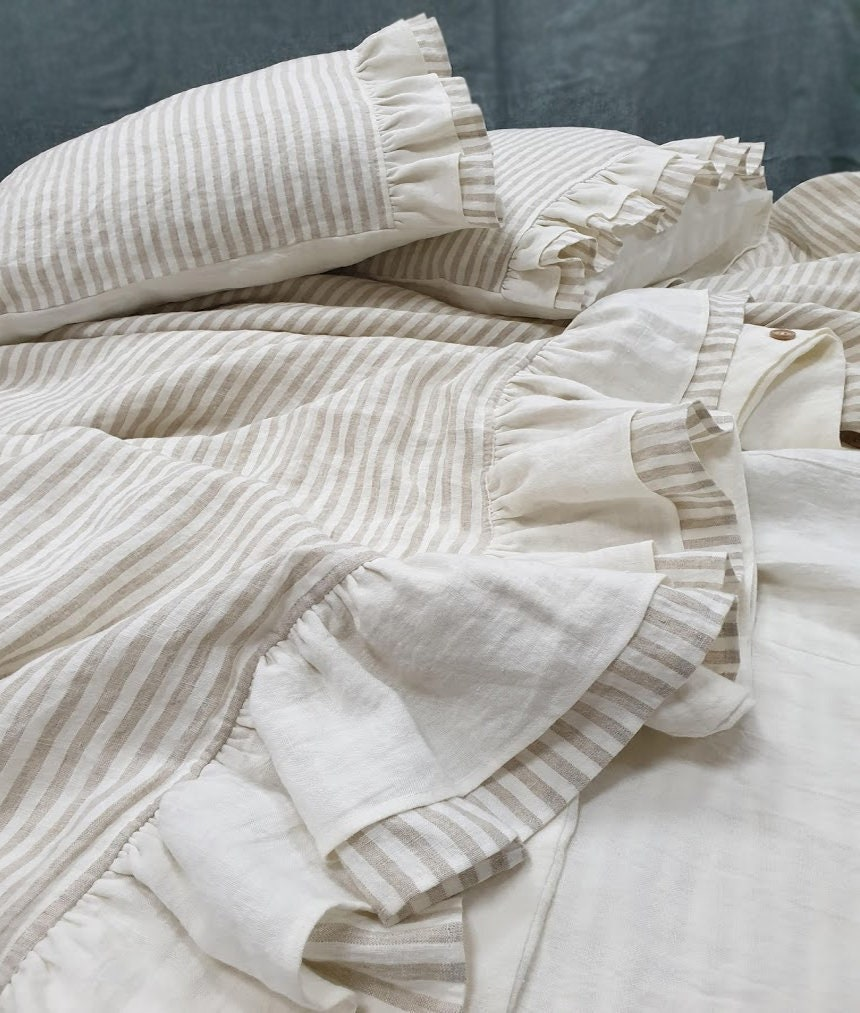 Ruffled DUVET COVER in off-white and striped softened linen - linen quilt cover with linen ruffles at bottom - Queen King ruffled bedding