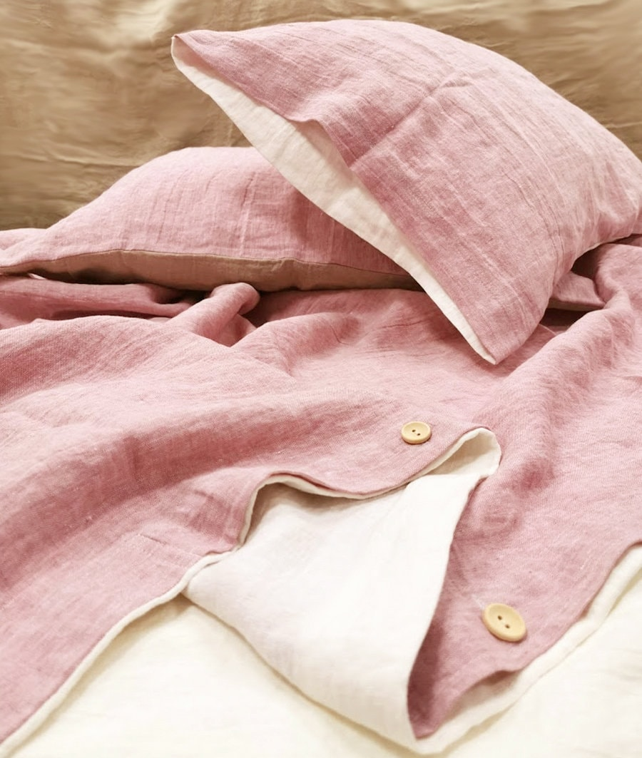 Reversible DUVET COVER in raspberry and off-white linen - softened linen doona, quilt cover - Double Queen King linen bedding, more colors