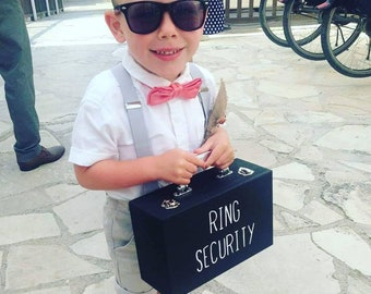 Ring Security Briefcase, Child's Ring Security Case,  Personalised Wedding Ring Box, Security Case, Wedding Ring Cushion, Wooden Ring Box
