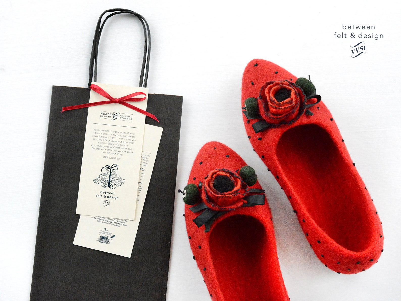 felted slippers pointy flats felted ballet flats red poppy bridesmaid gift stylish slippers for-girlfriend clogs home woman shoe