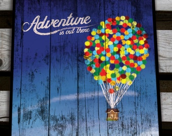 Vintage and Retro Disney Wood Art Adventure is Out There UP Movie gift memory film Pixar