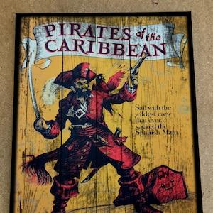 Vintage and Retro Disney Wood Art Pirates of the Caribbean Ride gift memory Disney World