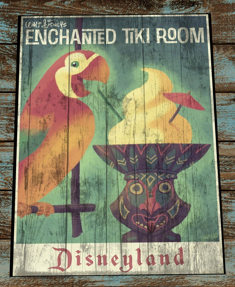 Vintage and Retro Disney Wood Art Enchanted Tiki Rooms gift image 0