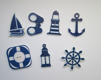 Maritimes set 7 wooden buttons