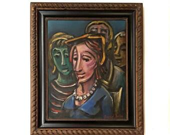 Original Oil on canvas Women Portrait Painting, Unique Figurative Expressionism Painting by Samuel S. Heller, Modern Framed art