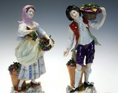 Pair of Vintage Volkstedt Rudolf Kammer The Grape Pickers German Porcelain Figurines, Hand Painted Couple Rococo Style w. Baskets of Grapes